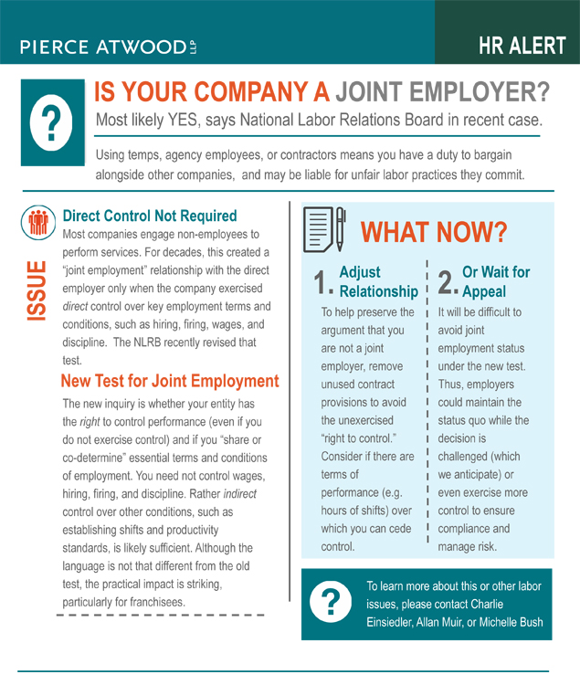 Is Your Company a Joint Employer? | Pierce Atwood